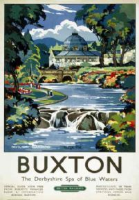 Vintage Buxton, Pavilion Gardens by Keneth Steel. English Railway Art Travel Poster Print